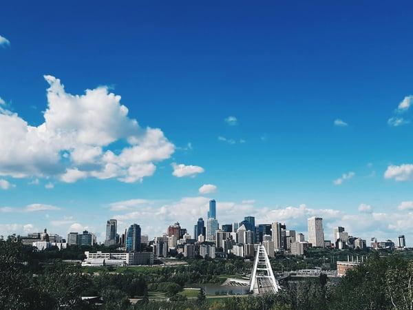 distanced view of Edmonton, Canada city skyline